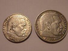 GERMAN LOT 1939A 2 REICHSMARK & 1936A 5 REICHSMARK (WITH SOME DOUBLING) WAS $125