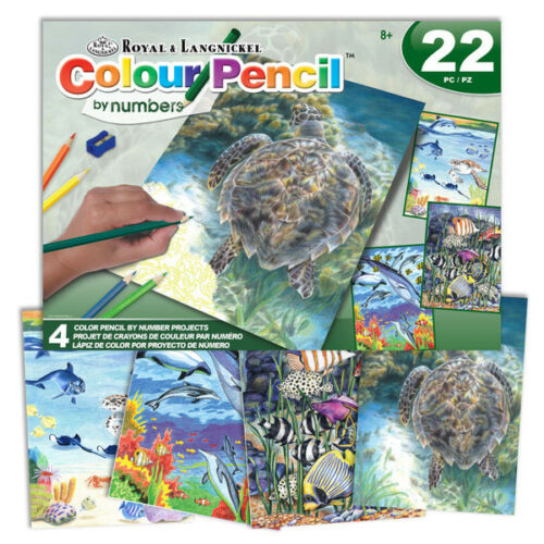 Royal /& Langnickel Colour Pencil by Numbers Set with 4 Sea Life Pictures