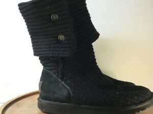 UGG-Australia-Womens-Classic-Cardy-Short-Knit-Winter-Boots-5819-Black-Size-9
