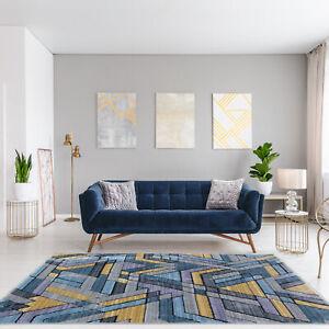 Dettagli su Tappeto moderno geometrico Giallo Large Grigio Tappeti Per  Salotto Camera Da Letto Di Qualità Stuoie- mostra il titolo originale
