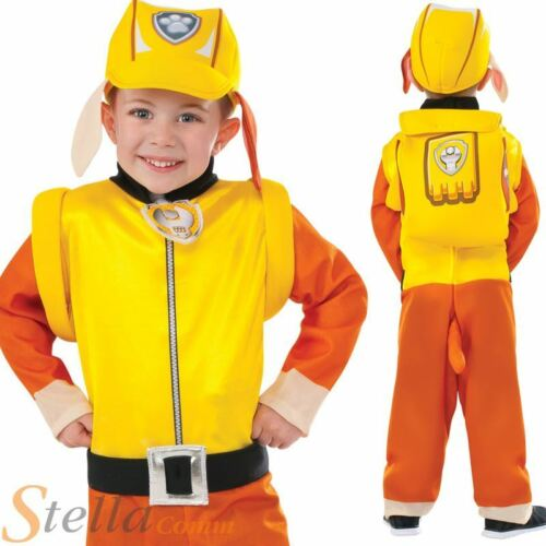 Boys Rubble Paw Patrol Costume Cartoon Dog Child Kids Fancy Dress Outfit
