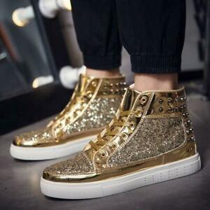 hot mens punk sequins rivets high top lace up ankle boots