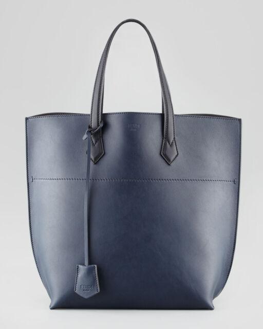 7d72c5a4a0a8 Fendi Navy black Leather SHOPPER Tote Shoulder Bag Large for sale ...