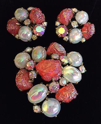 Vintage Schiaparelli Brooch Pin & Earrings Set~Red Lava Rock/AB RS/Goldtone~Sign