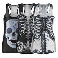 Women Tank Top Gothic Punk T-Shirt 3D Digital Sleeveless Vest Print Clubwear #G