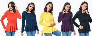 Stanzino-Womens-Long-Sleeve-Peplum-Casual-Office-or-Night-Out-Top
