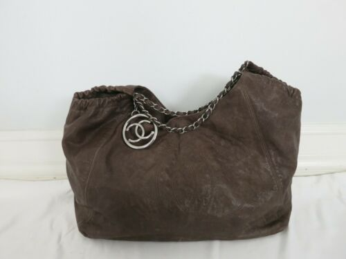 CHANEL brown leather tote bag