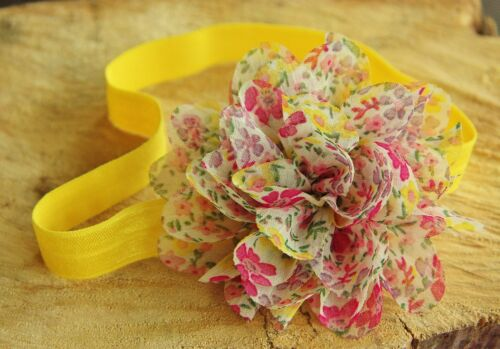 Flowery Soft Elastic Girl Baby Headband Shabby Flower Christening Spring Summer