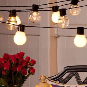 10 Led Solaire Alimenté Retro Ampoule String Lumières Fée Lampe Jardin Extérieur