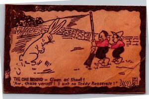 Rabbit-Children-with-Shotgun-I-ain-039-t-no-Teddy-Roosevelt-Leather-Postcard-I12