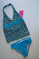 Speedo 2pc Halter Tankini Swimsuit Blue & Green Fully Lined Girls 10