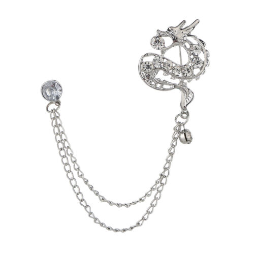 Men/'s Crystal Dragon Hanging Chain Brooch Pin Lapel Shirt Tuxedo Suit Decor