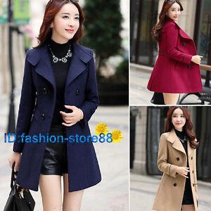 Women-039-s-Double-Breasted-Wool-Trench-Coat-Slim-Long-Jacket-Warm-Overcoat-Outwear