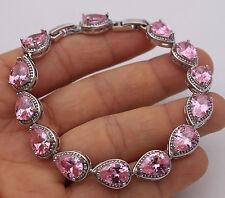18K White Gold Filled-7*10MM Pink Waterdrop Topaz Wedding Jewelry Bracelet 7.7''