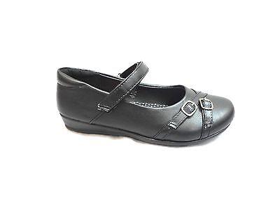 Zapatos Casuales Negro Niñas Escuela, Cierre de Correa Tallas 8-2 Astrid