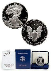 2002-w-Proof-Silver-Eagle-w-all-Boxes-amp-COA-Excellent-Condition