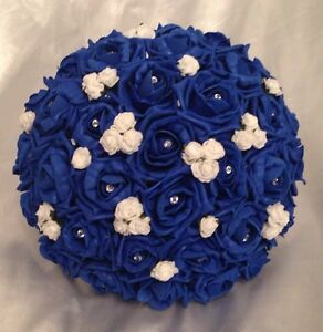 Image Is Loading Artificial Wedding Flowers White Royal Blue Foam Rose