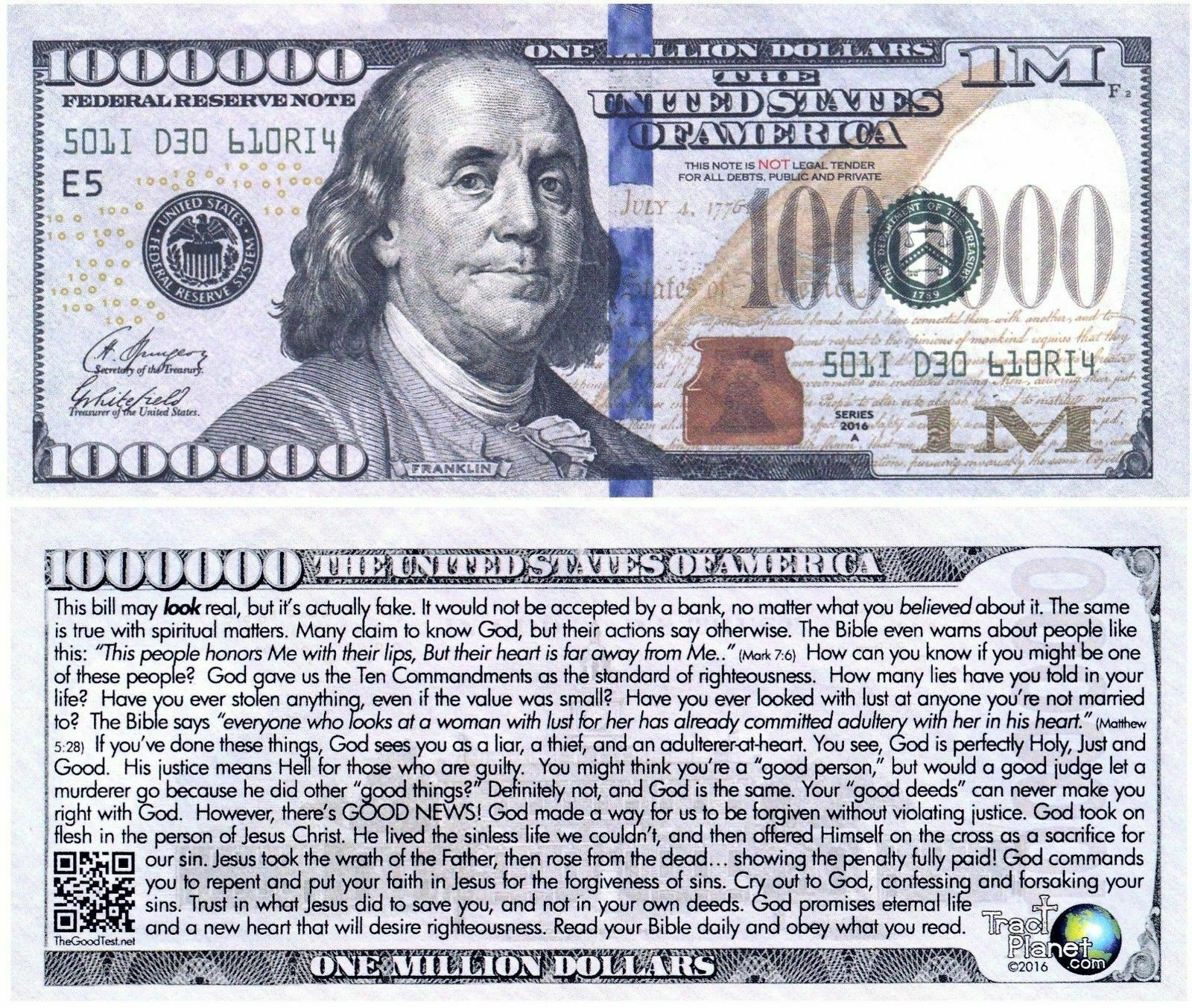 UnderDog Million Dollar Bill Fake Play Funny Money Novelty Note with FREE SLEEVE