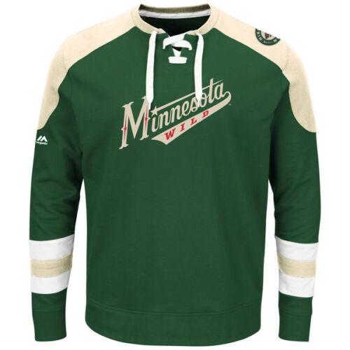 NHL Sweater MINNESOTA WILD Majestic Centre Pullover Crewneck Lace Up Sweatshirt Fanartikel