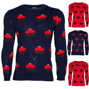 Mens-Xmas-Chunky-Knitted-Jumper-Festive-Crew-Neck-Pudding-Printed-Christmas-Top