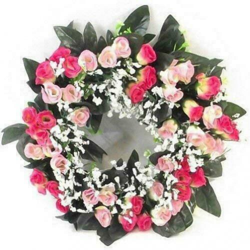Green Foliage Artificial Light /& Dark Pink Anemone and Fern Wreath 30cm