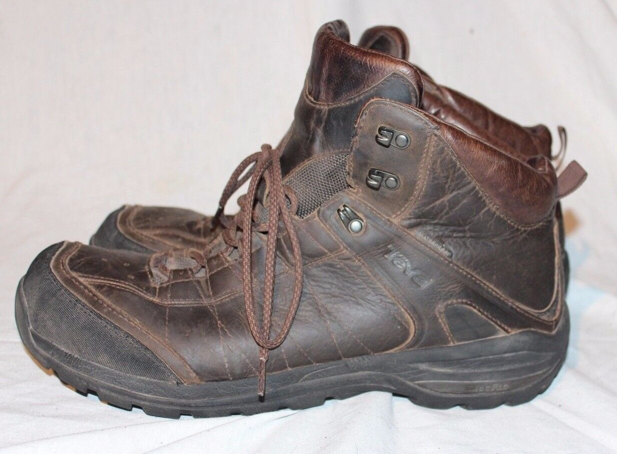 TEVA MENS BROWN Leather WATERPROOF Hiking Hunting BOOTS SHOES SIZE US14