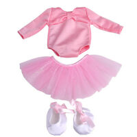 """Ballet Dress Skirt Outfit with Shoes Fit For 18"""" American Girl Doll Pink Clothes"""