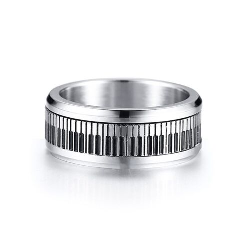 Stainless Steel Piano Keys Beveled Edge Spinning Band Ring Size 8-12