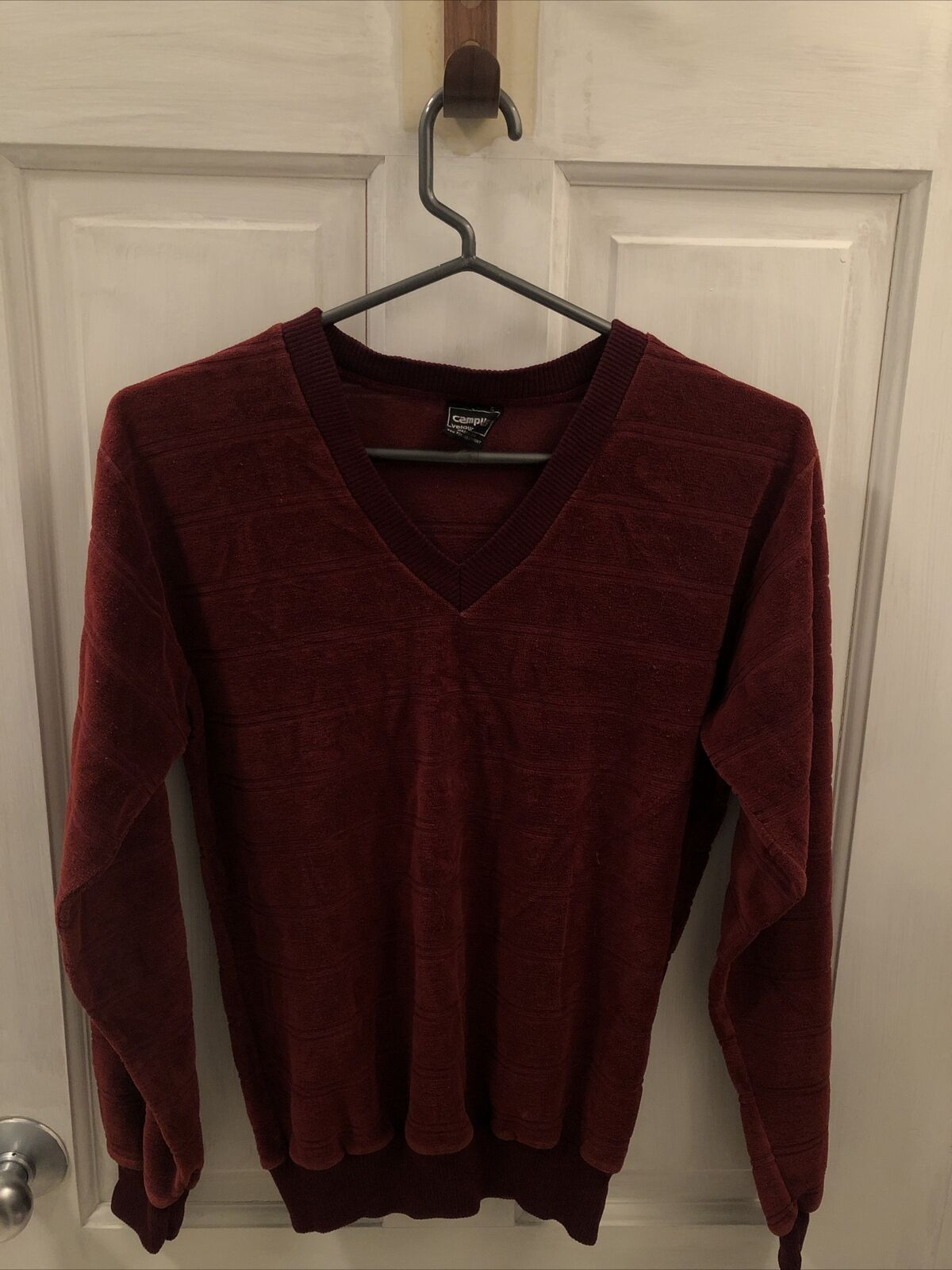 VTG 70s Campus Velour Striped Made in U.S.A. Pull… - image 1