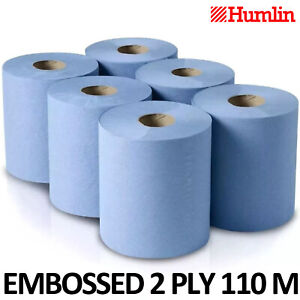 6 PACK 2 PLY BLUE EMBOSSED CENTRE FEED PAPER WIPE ROLLS 110m ROLLS
