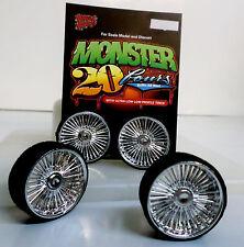 Hoppin Hydros 1/24 MONSTER 24 PLAYAZ Chrome Rims Wheels Low Pro Tires Model Car
