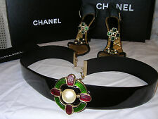 CHANEL Gripoix BELT Gold Chain Jewelry MALTESE CROSS Emerald Black Patent NewTag