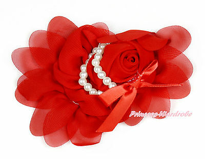 Fabric Rosette Flower Corsage Hair Pin Clip With Pearl Crystal Beaded 4 Headband