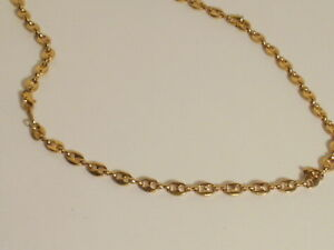 14k Yellow Gold Plated Puffed Mariner Chain 6 MM wide L