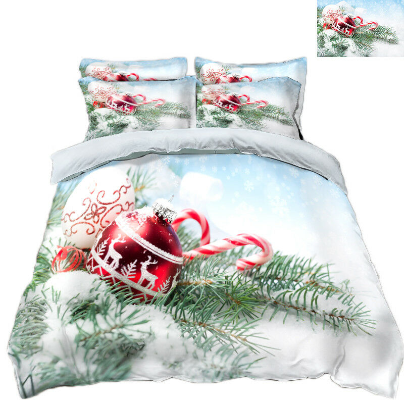 3D Christmas Xmas Bell 8 Bed Pillowcases Quilt Duvet Cover Set Single Queen UK