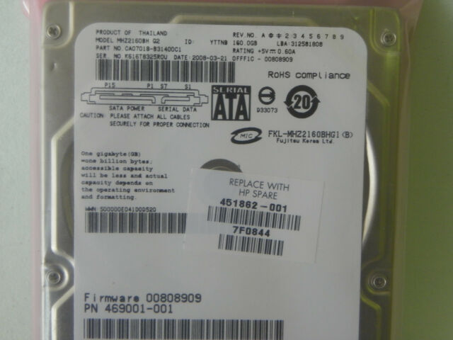 160GB Fujitsu MHZ2160BH Hard Drive P/N CA07018-B42400SS CA07018-B31400C1 , more