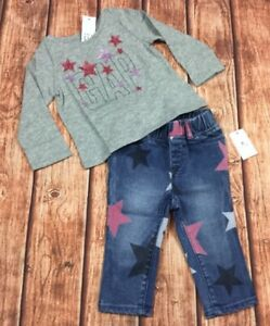 Nwt GAP Logo Shirt /& Denim Pink Lined Jeans Baby Gap Girls 12-18 Months Outfit