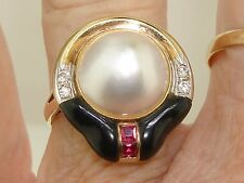 14K SOLID GOLD MABE PEARL RUBY, DIAMOND & BLACK ENAMEL RING! CUSTOM CREATION!