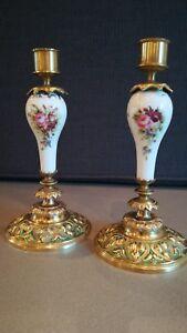 2 Flambeaux NapolÉon Iii Bronze Et Porcelaine De Paris Ou Limoges DÉcor Floral Haute Qualité Et Bas Frais GéNéRaux