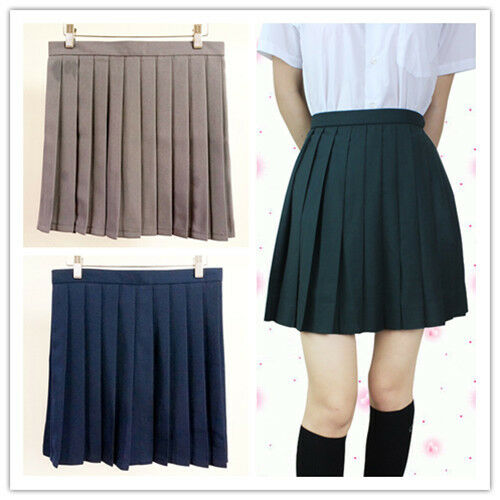 Japanese High School Girls Solid Pleated Mini Skirt Sailor Dress Cosplay 8 Color