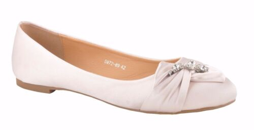 Champagne Diamante Wedding Flat Pumps Bridal Ballerina UK7.5 UK8 UK8.5 UK9