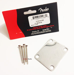 Genuine-Fender-034-Vintage-Style-034-4-Bolt-Plain-Neck-Plate-with-Screws-CHROME