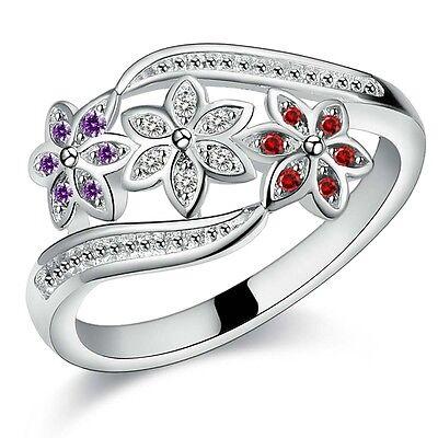 925 cute Silver jewelry charm crystal Zircon women ring wedding lady wholesale