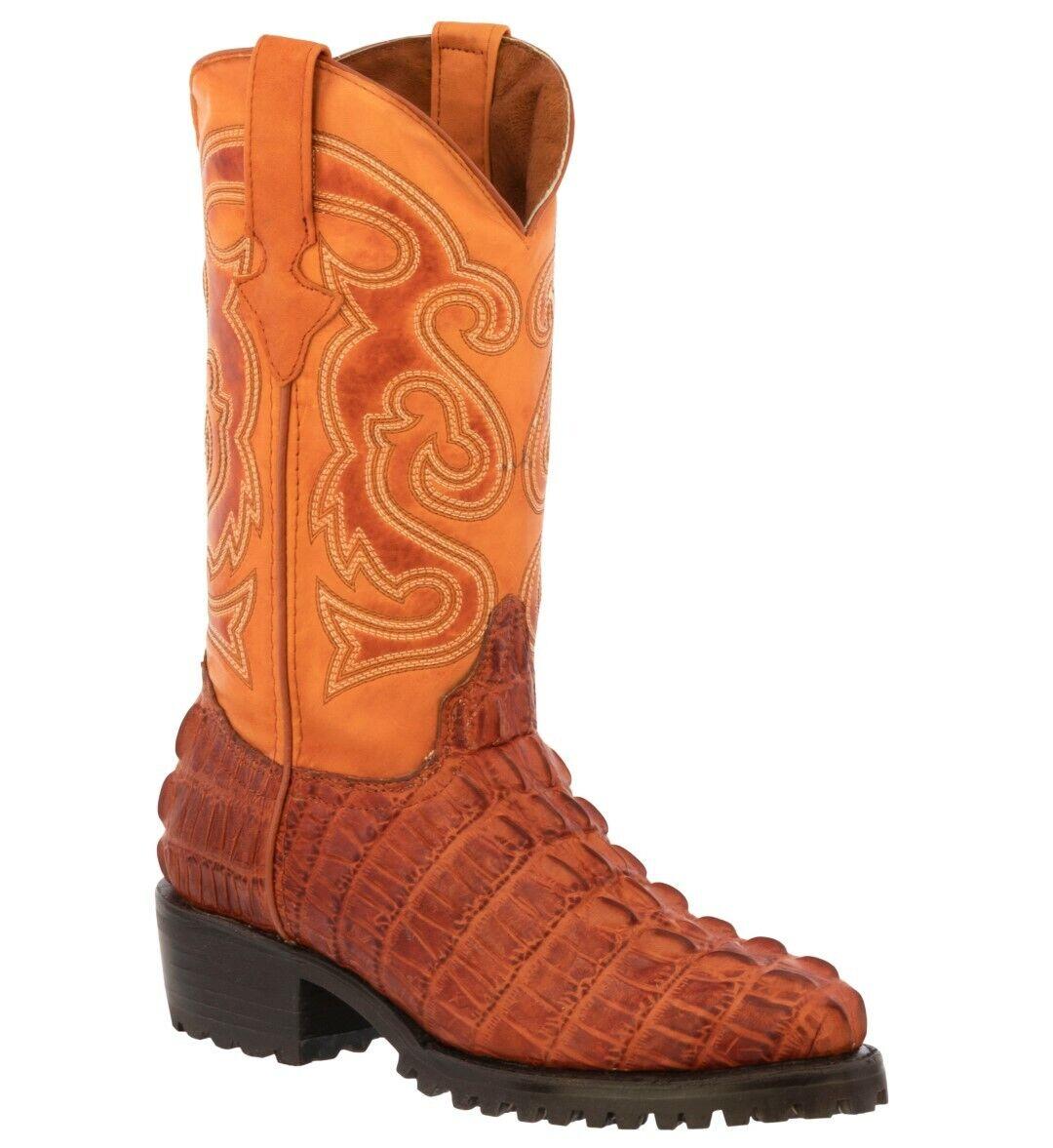 Mens Motorcycle Biker Boots Alligator Pattern Leather Cognac Cowboy Round Toe