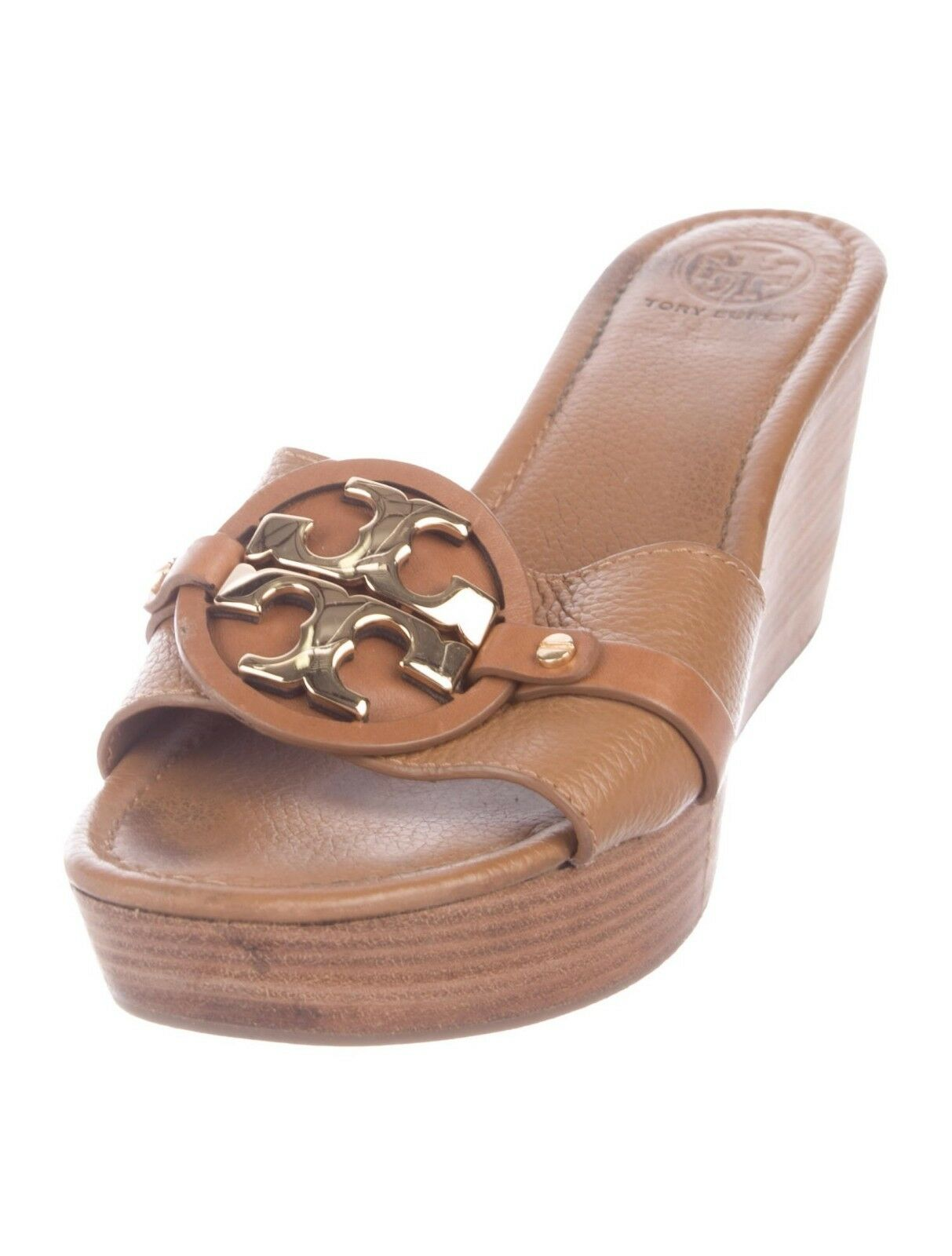 TORY BURCH WOMEN'S LOGO LEATHER WEDGE SLIDE BROWN CAMEL SANDAL SHOES 10.5 10 1 2