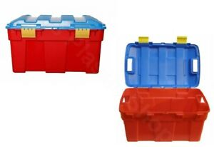 40L-Plastic-Storage-Trunk-Hinged-Lid-Removable-Clip-Toy-Box-Chest-Organizer-Cart