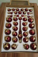 40. Set Weihnachtskugeln Violett/Gold, 39 Kugeln + Aufhänger Handbemalt Lauscha