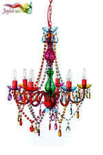 "Gypsy Color 6 Arm Large Chandelier H27"" W23"" Multi color Boho New Lighting"