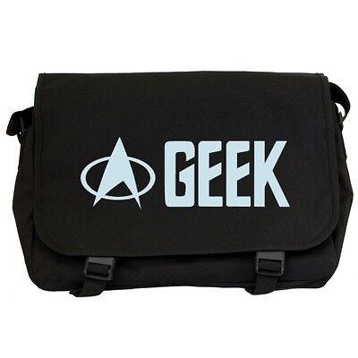 GEEK Black Messenger Flight Bag sci-fi trekkie trekker star fleet fans NEW - SKY