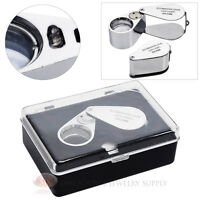 Jewelers Loupe 10x Magnifier 21mm Glass Lens Magnifying Illuminated Lighted Led